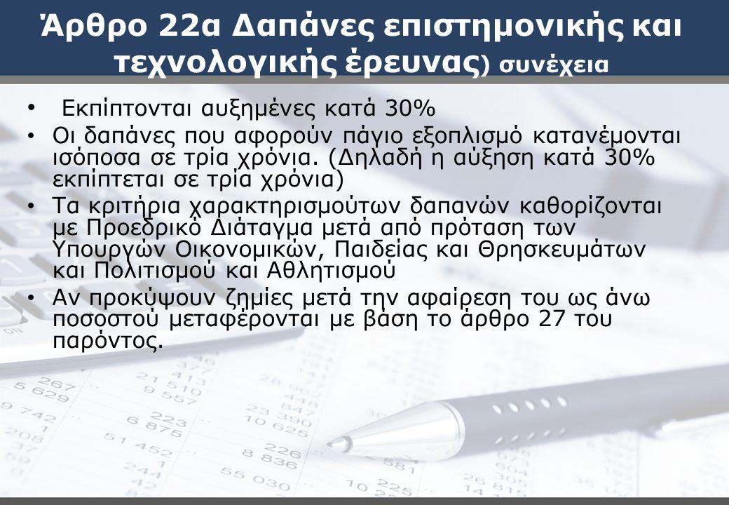 Άρθρο 22α Δαπάνες επιστημονικής και τεχνολογικής έρευνας ) συνέχεια Εκπίπτονται αυξημένες κατά 30% Οι δαπάνες που αφορούν πάγιο εξοπλισμό κατανέμονται ισόποσα σε τρία χρόνια.