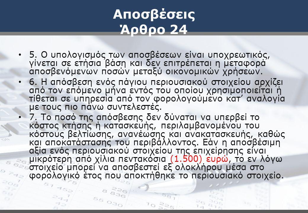 Αποσβέσεις Άρθρο 24 5. Ο υπολογισμός των αποσβέσεων είναι υποχρεωτικός, γίνεται σε ετήσια βάση και δεν επιτρέπεται η μεταφορά αποσβενόμενων ποσών μετα