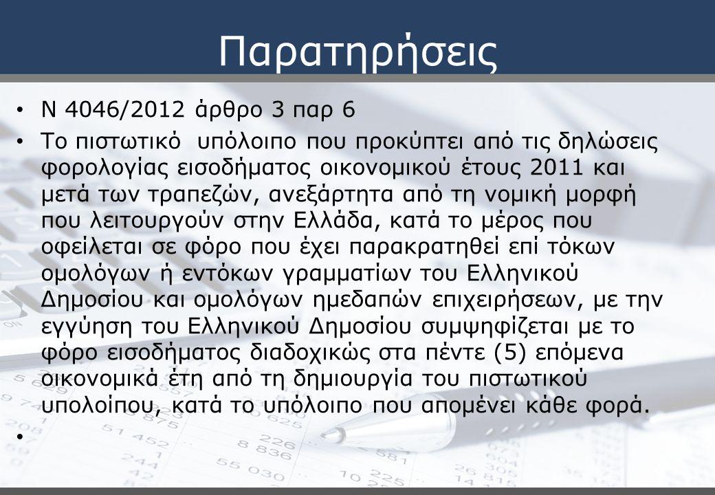 Παρατηρήσεις Ν 4046/2012 άρθρο 3 παρ 6 Το πιστωτικό υπόλοιπο που προκύπτει από τις δηλώσεις φορολογίας εισοδήματος οικονομικού έτους 2011 και μετά των