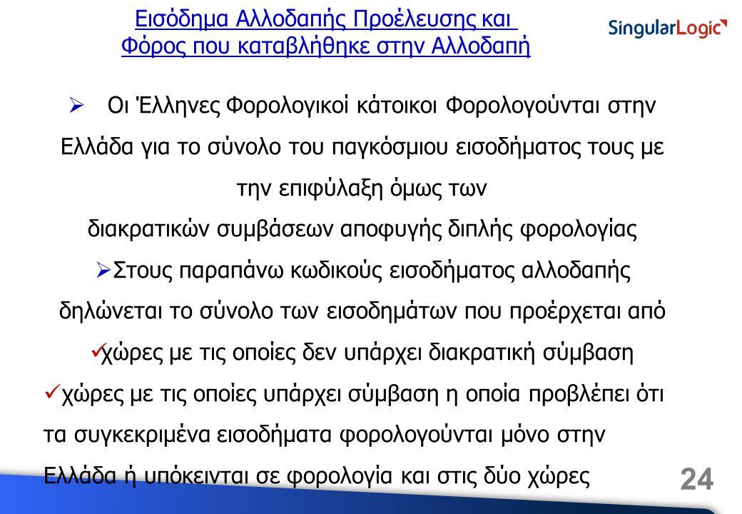 24 Εισόδημα Αλλοδαπής Προέλευσης και Φόρος που καταβλήθηκε στην Αλλοδαπή  Οι Έλληνες Φορολογικοί κάτοικοι Φορολογούνται στην Ελλάδα για το σύνολο του