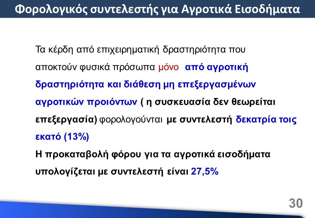 30 Τα κέρδη από επιχειρηματική δραστηριότητα που αποκτούν φυσικά πρόσωπα μόνο από αγροτική δραστηριότητα και διάθεση μη επεξεργασμένων αγροτικών προιόντων ( η συσκευασία δεν θεωρείται επεξεργασία) φορολογούνται με συντελεστή δεκατρία τοις εκατό (13%) Η προκαταβολή φόρου για τα αγροτικά εισοδήματα υπολογίζεται με συντελεστή είναι 27,5% Φορολογικός συντελεστής για Αγροτικά Εισοδήματα