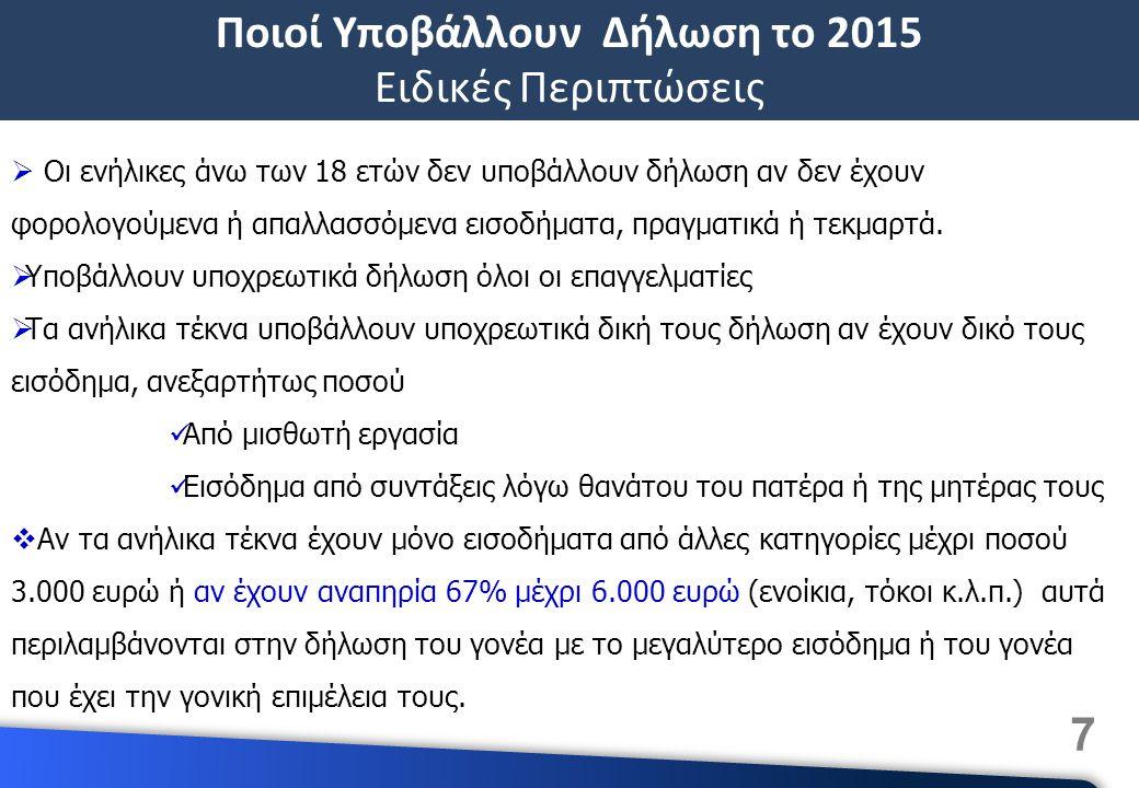 7 Ποιοί Υποβάλλουν Δήλωση το 2015 Ειδικές Περιπτώσεις  Οι ενήλικες άνω των 18 ετών δεν υποβάλλουν δήλωση αν δεν έχουν φορολογούμενα ή απαλλασσόμενα εισοδήματα, πραγματικά ή τεκμαρτά.