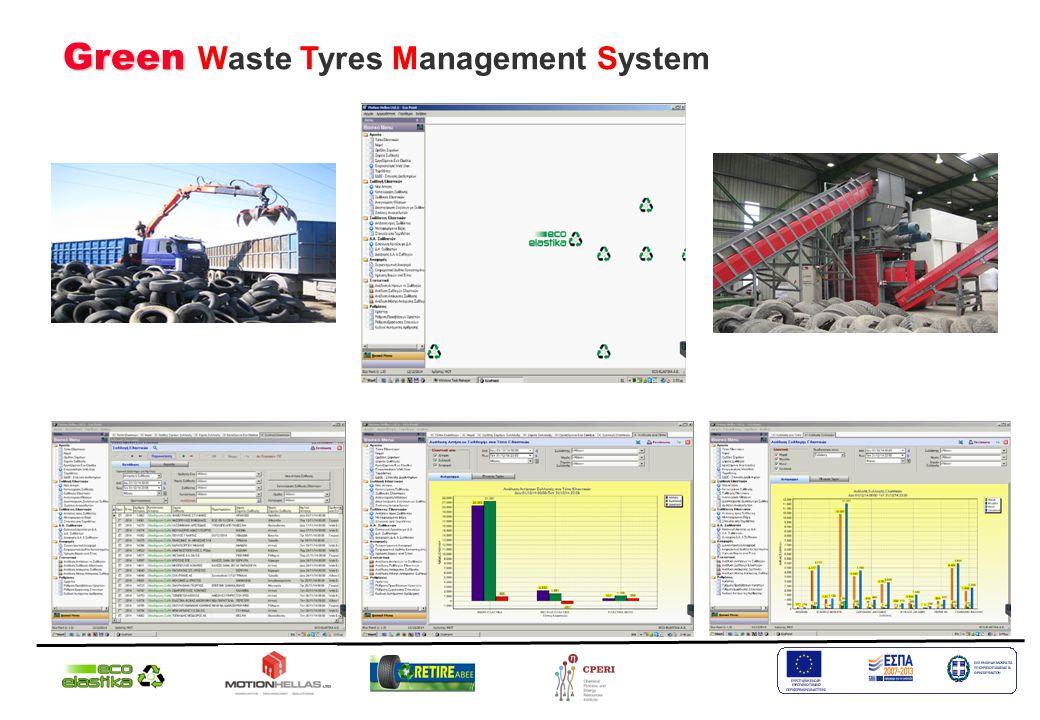 Το Σύστημα Διαχείρισης Εισερχόμενων-Εξερχόμενων Οχημάτων στους Σταθμούς Ανακύκλωσης περιλαμβάνει:  Σύστημα Διαχείρισης και Αναφορών Εισερχομένων Υλικών και Εξερχόμενων Προϊόντων στους Σταθμούς Ανακύκλωσης Ελαστικών.