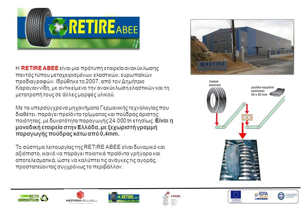 Η RETIRE ΑΒΕΕ είναι μια πρότυπη εταιρεία ανακύκλωσης παντός τύπου μεταχειρισμένων ελαστικών, ευρωπαϊκών προδιαγραφών. Ιδρύθηκε το 2007, από τον Δημήτρ