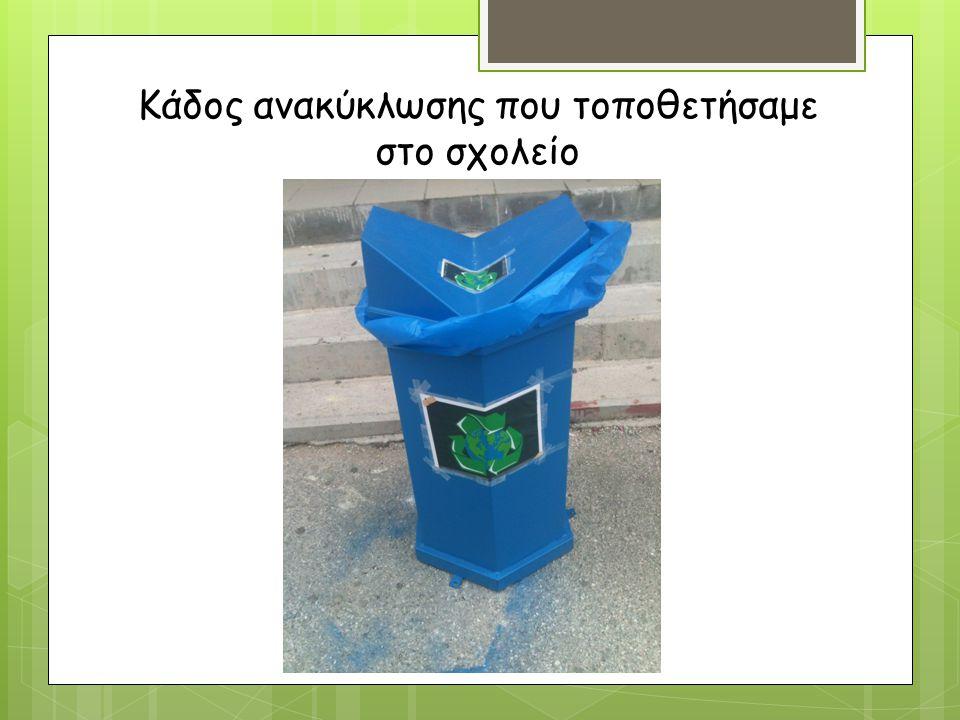 Κάδος ανακύκλωσης που τοποθετήσαμε στο σχολείο