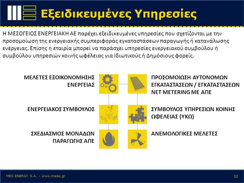 Εξειδικευμένες Υπηρεσίες 10 Η ΜΕΣΟΓΕΙΟΣ ΕΝΕΡΓΕΙΑΚΗ ΑΕ παρέχει εξειδικευμένες υπηρεσίες που σχετίζονται με την προσομοίωση της ενεργειακής συμπεριφοράς
