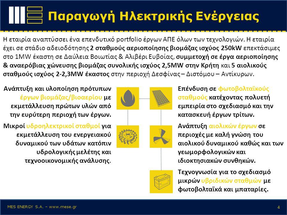 Παραγωγή Ηλεκτρικής Ενέργειας 4 Η εταιρία αναπτύσσει ένα επενδυτικό portfolio έργων ΑΠΕ όλων των τεχνολογιών. Η εταιρία έχει σε στάδιο αδειοδότησης 2