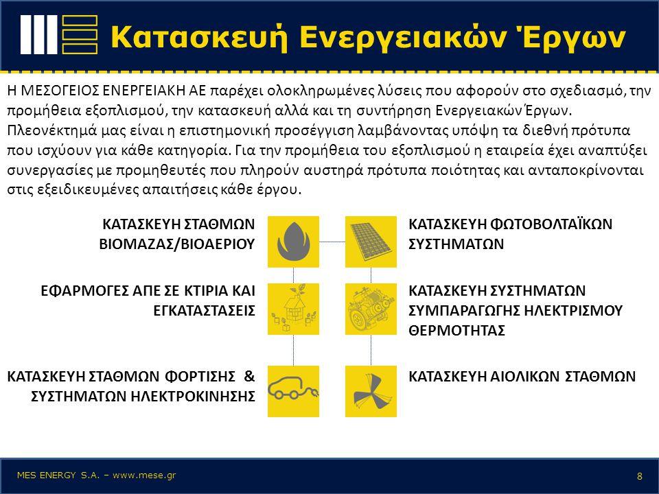 Κατασκευή Ενεργειακών Έργων 8 Η ΜΕΣΟΓΕΙΟΣ ΕΝΕΡΓΕΙΑΚΗ ΑΕ παρέχει ολοκληρωμένες λύσεις που αφορούν στο σχεδιασμό, την προμήθεια εξοπλισμού, την κατασκευ