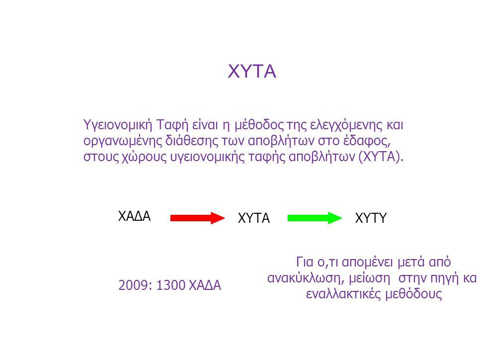 XYTA Υγειονομική Ταφή είναι η μέθοδος της ελεγχόμενης και οργανωμένης διάθεσης των αποβλήτων στο έδαφος, στους χώρους υγειονομικής ταφής αποβλήτων (ΧΥ