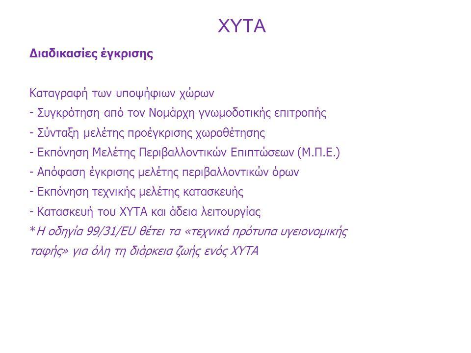 Διαδικασίες έγκρισης Η ελληνική νομοθεσία που διέπει τη διαχείριση των στερεών αποβλήτων, καθώς και τα κριτήρια επιλογής θέσεων εγκατάστασης διαχείρισης αποβλήτων καθορίζεται από τις: -1.
