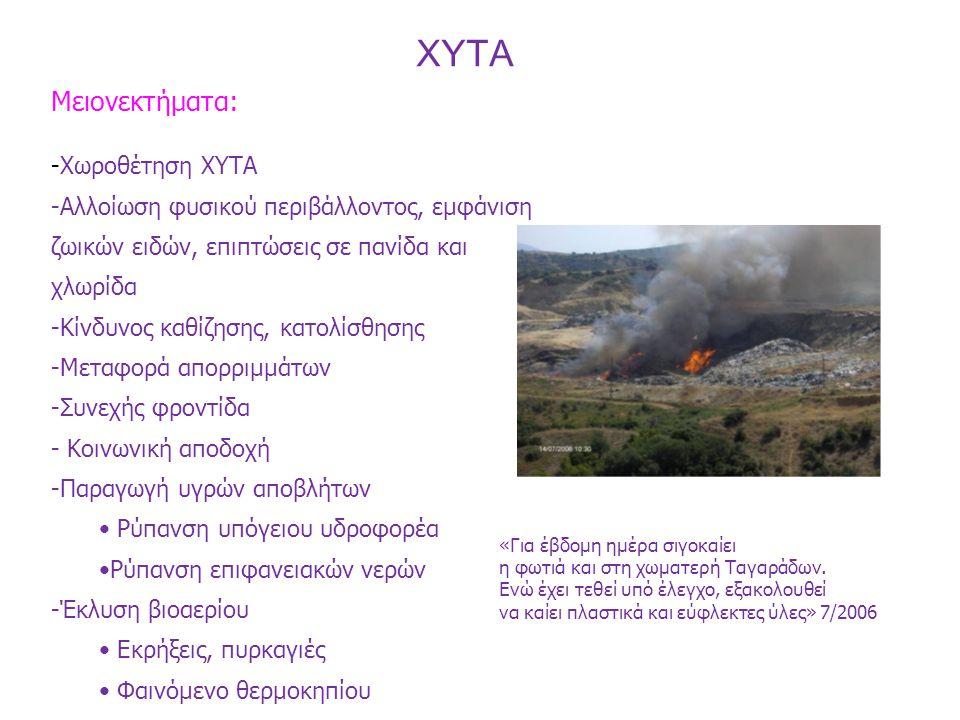 Μειονεκτήματα: -Χωροθέτηση ΧΥΤΑ -Αλλοίωση φυσικού περιβάλλοντος, εμφάνιση ζωικών ειδών, επιπτώσεις σε πανίδα και χλωρίδα -Κίνδυνος καθίζησης, κατολίσθ