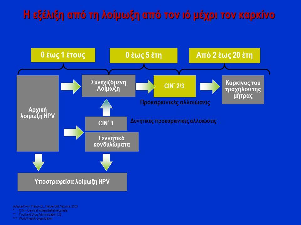 0 έως 1 έτους 0 έως 5 έτηΑπό 2 έως 20 έτη Αρχική λοίμωξη HPV Συνεχιζόμενη Λοίμωξη CIN * 2/3 Καρκίνος του τραχήλου της μήτρας CIN * 1 Υποστραφείσα λοίμ