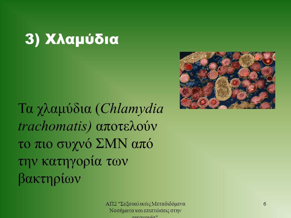 3) Χλαμύδια Τα χλαμύδια (Chlamydia trachomatis) αποτελούν το πιο συχνό ΣΜΝ από την κατηγορία των βακτηρίων 6ΑΠ2