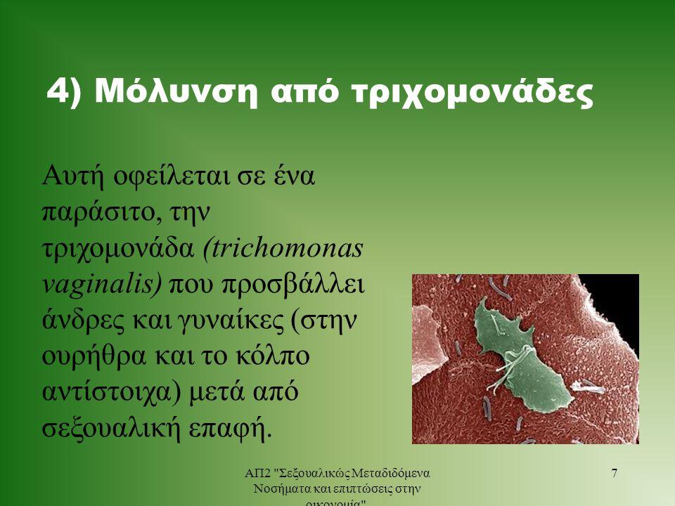 4) Μόλυνση από τριχομονάδες Αυτή οφείλεται σε ένα παράσιτο, την τριχομονάδα (trichomonas vaginalis) που προσβάλλει άνδρες και γυναίκες (στην ουρήθρα κ