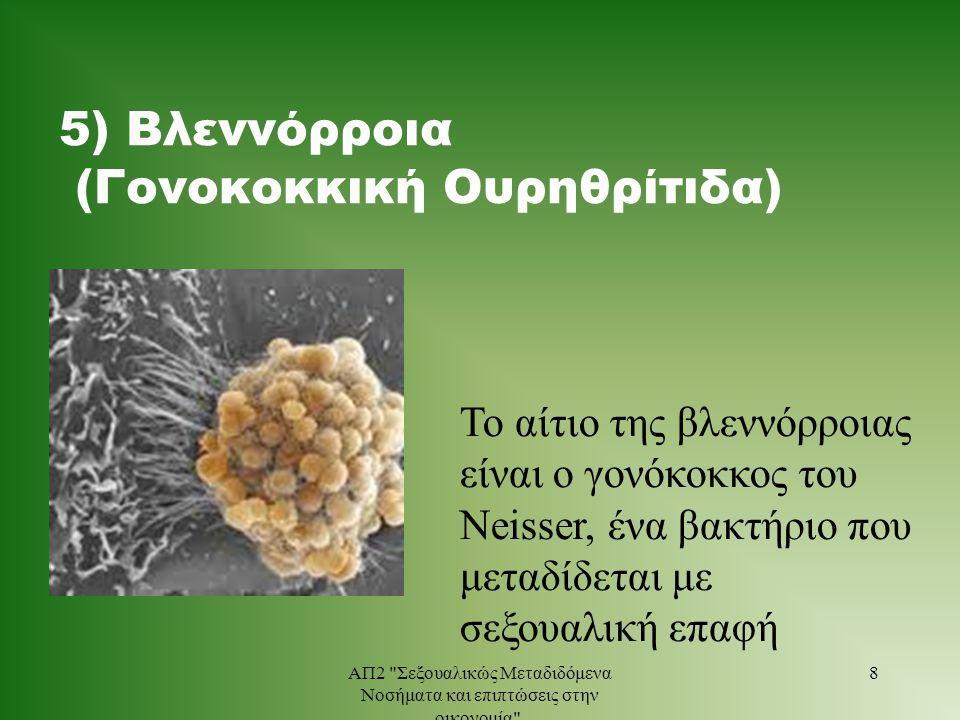 5) Βλεννόρροια (Γονοκοκκική Ουρηθρίτιδα) Το αίτιο της βλεννόρροιας είναι ο γονόκοκκος του Neisser, ένα βακτήριο που μεταδίδεται με σεξουαλική επαφή 8Α