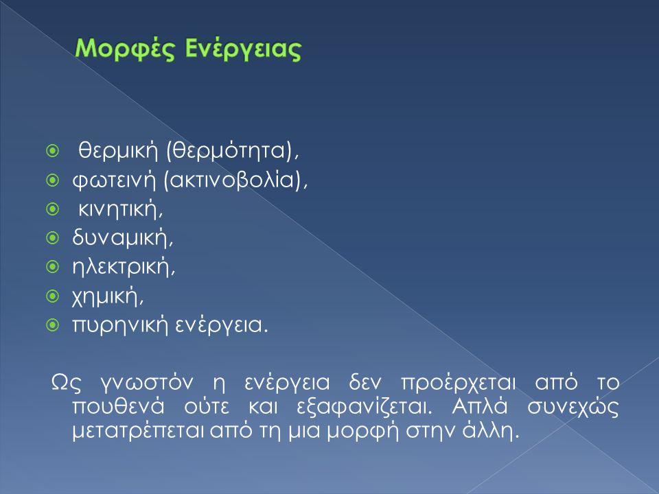  θερμική (θερμότητα),  φωτεινή (ακτινοβολία),  κινητική,  δυναμική,  ηλεκτρική,  χημική,  πυρηνική ενέργεια. Ως γνωστόν η ενέργεια δεν προέρχετ