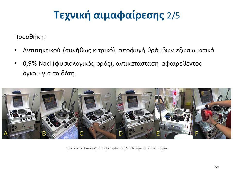 Τεχνική αιμαφαίρεσης 2/5 Προσθήκη: Αντιπηκτικού (συνήθως κιτρικό), αποφυγή θρόμβων εξωσωματικά. 0,9% Nacl (φυσιολογικός ορός), αντικατάσταση αφαιρεθέν