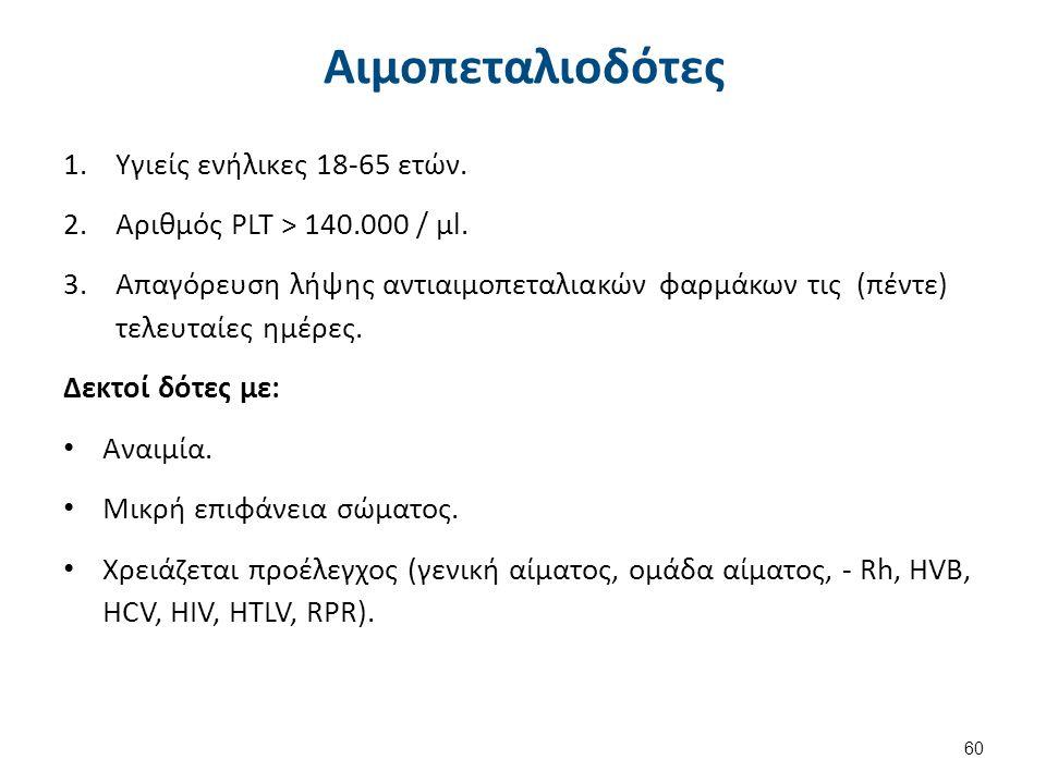 Αιμοπεταλιοδότες 1.Υγιείς ενήλικες 18-65 ετών. 2.Αριθμός PLT > 140.000 / μl. 3.Απαγόρευση λήψης αντιαιμοπεταλιακών φαρμάκων τις (πέντε) τελευταίες ημέ