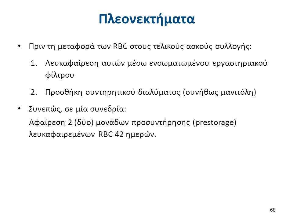 Πλεονεκτήματα Πριν τη μεταφορά των RBC στους τελικούς ασκούς συλλογής: 1.Λευκαφαίρεση αυτών μέσω ενσωματωμένου εργαστηριακού φίλτρου 2.Προσθήκη συντηρ