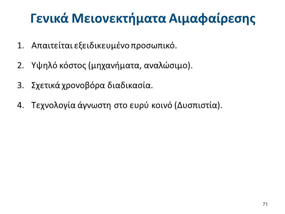 Γενικά Μειονεκτήματα Αιμαφαίρεσης 1.Απαιτείται εξειδικευμένο προσωπικό. 2.Υψηλό κόστος (μηχανήματα, αναλώσιμο). 3.Σχετικά χρονοβόρα διαδικασία. 4.Τεχν