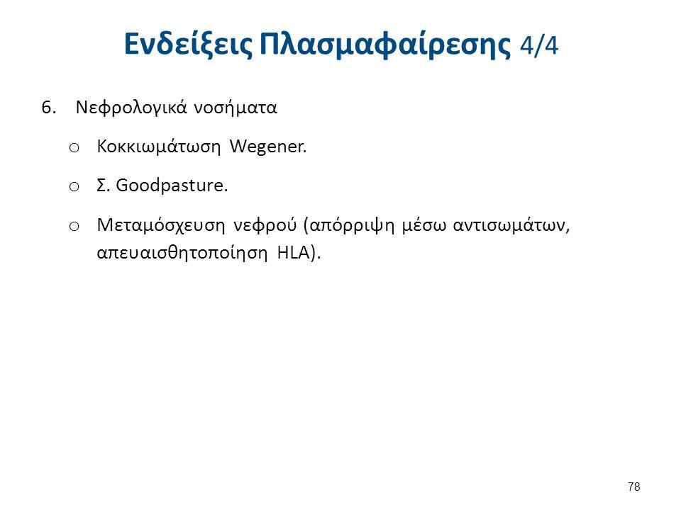 Ενδείξεις Πλασμαφαίρεσης 4/4 6.Νεφρολογικά νοσήματα o Κοκκιωμάτωση Wegener. o Σ. Goodpasture. o Μεταμόσχευση νεφρού (απόρριψη μέσω αντισωμάτων, απευαι