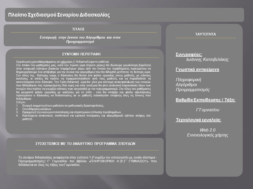 Πλαίσιο Σχεδιασμού Σεναρίου Διδασκαλίας Εισαγωγή στην έννοια του Αλγορίθμου και στον Προγραμματισμό Συγγραφέας: Ιωάννης Κατσιβελάκης Γνωστικό αντικείμενο Πληροφορική Αλγόριθμοι Προγραμματισμός Βαθμίδα Εκπαίδευσης / Τάξη: Γ'Γυμνασίου Τεχνολογικά εργαλεία: Web 2.0 Εννοιολογικός χάρτης ΤΑΥΤΟΤΗΤΑ ΤΙΤΛΟΣ ΣΥΝΤΟΜΗ ΠΕΡΙΓΡΑΦΗ Οργάνωση χρονοδιαγράμματος σε τρία μέρη (1 διδακτική ώρα το καθένα).