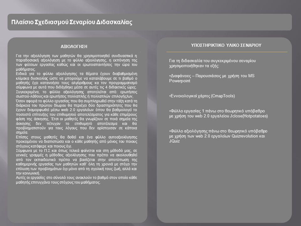Πλαίσιο Σχεδιασμού Σεναρίου Διδασκαλίας ΑΞΙΟΛΟΓΗΣΗ ΥΠΟΣΤΗΡΙΚΤΙΚΟ ΥΛΙΚΟ ΣΕΝΑΡΙΟΥ Για την αξιολόγηση των μαθητών θα χρησιμοποιηθεί συνδυαστικά η παραδοσιακή αξιολόγηση με το φύλλο αξιολόγησης, η εκπόνηση της των φύλλων εργασίας καθώς και οι ερωτοαπαντήσεις την ώρα του μαθήματος.