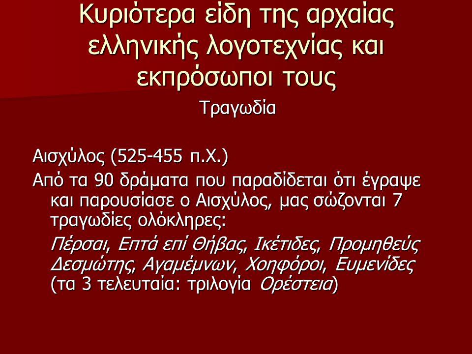 Κυριότερα είδη της αρχαίας ελληνικής λογοτεχνίας και εκπρόσωποι τους Τραγωδία Αισχύλος (525-455 π.Χ.) Από τα 90 δράματα που παραδίδεται ότι έγραψε και