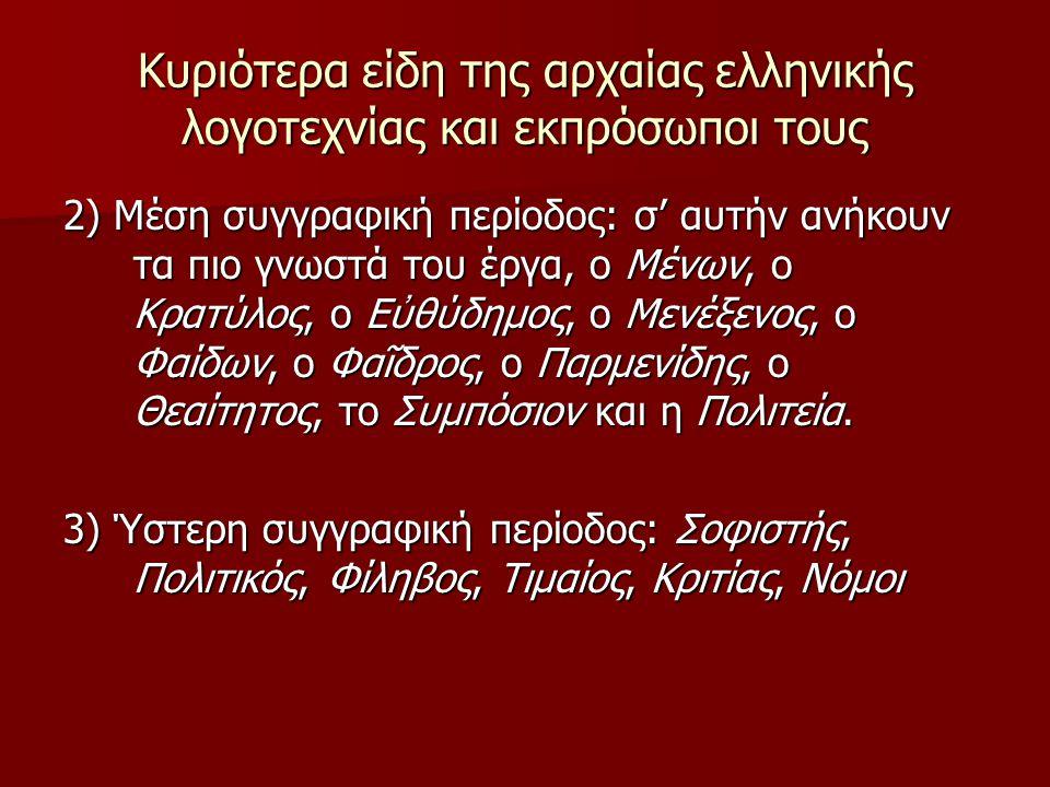 Κυριότερα είδη της αρχαίας ελληνικής λογοτεχνίας και εκπρόσωποι τους 2) Μέση συγγραφική περίοδος: σ' αυτήν ανήκουν τα πιο γνωστά του έργα, ο Μένων, ο