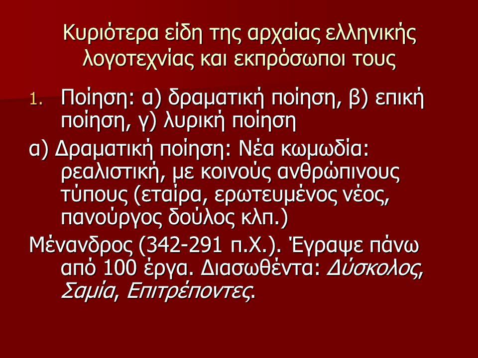 Κυριότερα είδη της αρχαίας ελληνικής λογοτεχνίας και εκπρόσωποι τους 1. Ποίηση: α) δραματική ποίηση, β) επική ποίηση, γ) λυρική ποίηση α) Δραματική πο