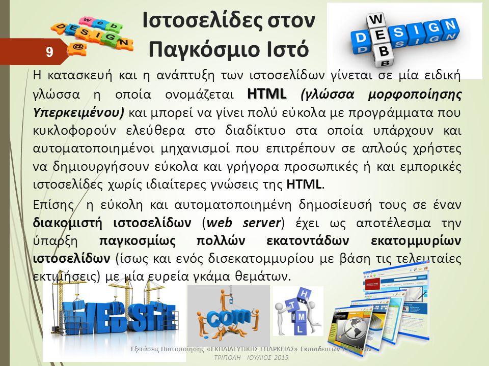 Ιστοσελίδες στον Παγκόσμιο Ιστό ΗTML Η κατασκευή και η ανάπτυξη των ιστοσελίδων γίνεται σε μία ειδική γλώσσα η οποία ονομάζεται ΗTML (γλώσσα μορφοποίησης Υπερκειμένου) και μπορεί να γίνει πολύ εύκολα με προγράμματα που κυκλοφορούν ελεύθερα στο διαδίκτυο στα οποία υπάρχουν και αυτοματοποιημένοι μηχανισμοί που επιτρέπουν σε απλούς χρήστες να δημιουργήσουν εύκολα και γρήγορα προσωπικές ή και εμπορικές ιστοσελίδες χωρίς ιδιαίτερες γνώσεις της HTML.