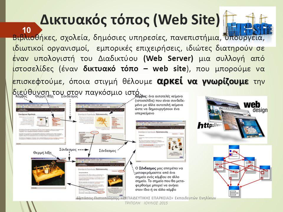 Δικτυακός τόπος (Web Site) αρκεί να γνωρίζουμε Βιβλιοθήκες, σχολεία, δημόσιες υπηρεσίες, πανεπιστήμια, υπουργεία, ιδιωτικοί οργανισμοί, εμπορικές επιχειρήσεις, ιδιώτες διατηρούν σε έναν υπολογιστή του Διαδικτύου (Web Server) μια συλλογή από ιστοσελίδες (έναν δικτυακό τόπο – web site), που μπορούμε να επισκεφτούμε, όποια στιγμή θέλουμε αρκεί να γνωρίζουμε την διεύθυνση του στον παγκόσμιο ιστό.