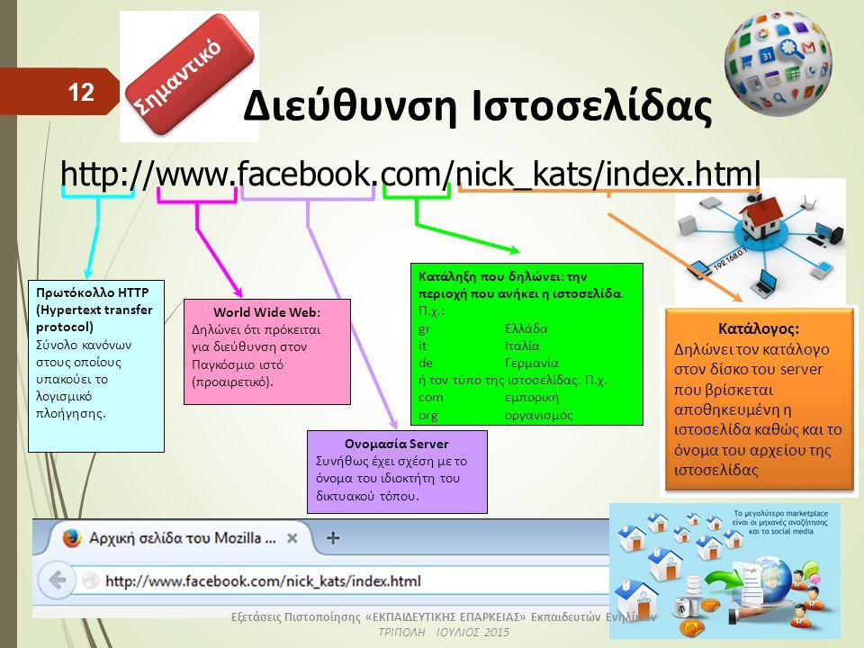 Σημαντικό Διεύθυνση Ιστοσελίδας 12 Κατάληξη που δηλώνει: την περιοχή που ανήκει η ιστοσελίδα.