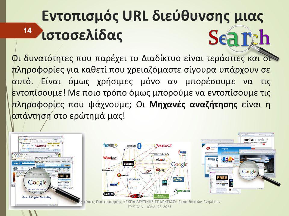 Εντοπισμός URL διεύθυνσης μιας ιστοσελίδας Οι δυνατότητες που παρέχει το Διαδίκτυο είναι τεράστιες και οι πληροφορίες για καθετί που χρειαζόμαστε σίγο