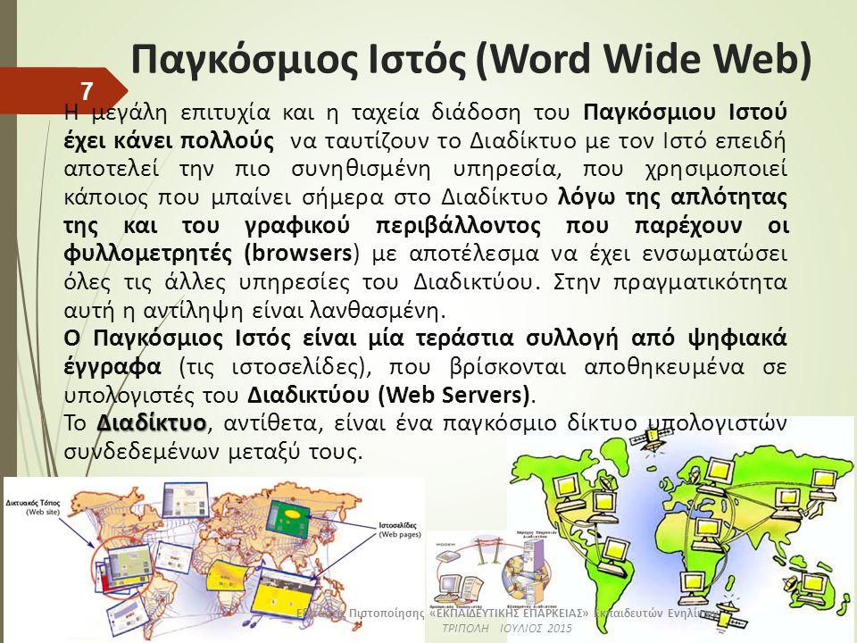 Παγκόσμιος Ιστός (Word Wide Web) Η μεγάλη επιτυχία και η ταχεία διάδοση του Παγκόσμιου Ιστού έχει κάνει πολλούς να ταυτίζουν το Διαδίκτυο με τον Ιστό επειδή αποτελεί την πιο συνηθισμένη υπηρεσία, που χρησιμοποιεί κάποιος που μπαίνει σήμερα στο Διαδίκτυο λόγω της απλότητας της και του γραφικού περιβάλλοντος που παρέχουν οι φυλλομετρητές (browsers) με αποτέλεσμα να έχει ενσωματώσει όλες τις άλλες υπηρεσίες του Διαδικτύου.