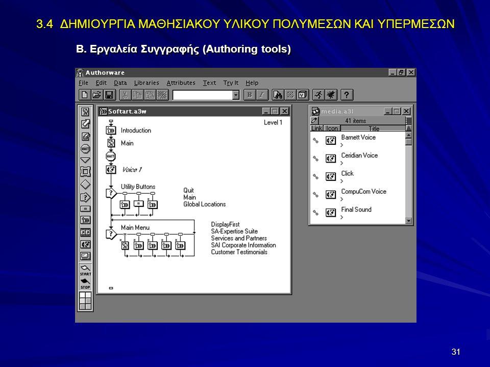 31 3.4 ΔΗΜΙΟΥΡΓΙΑ ΜΑΘΗΣΙΑΚΟΥ ΥΛΙΚΟΥ ΠΟΛΥΜΕΣΩΝ ΚΑΙ ΥΠΕΡΜΕΣΩΝ Β. Εργαλεία Συγγραφής (Authoring tools)