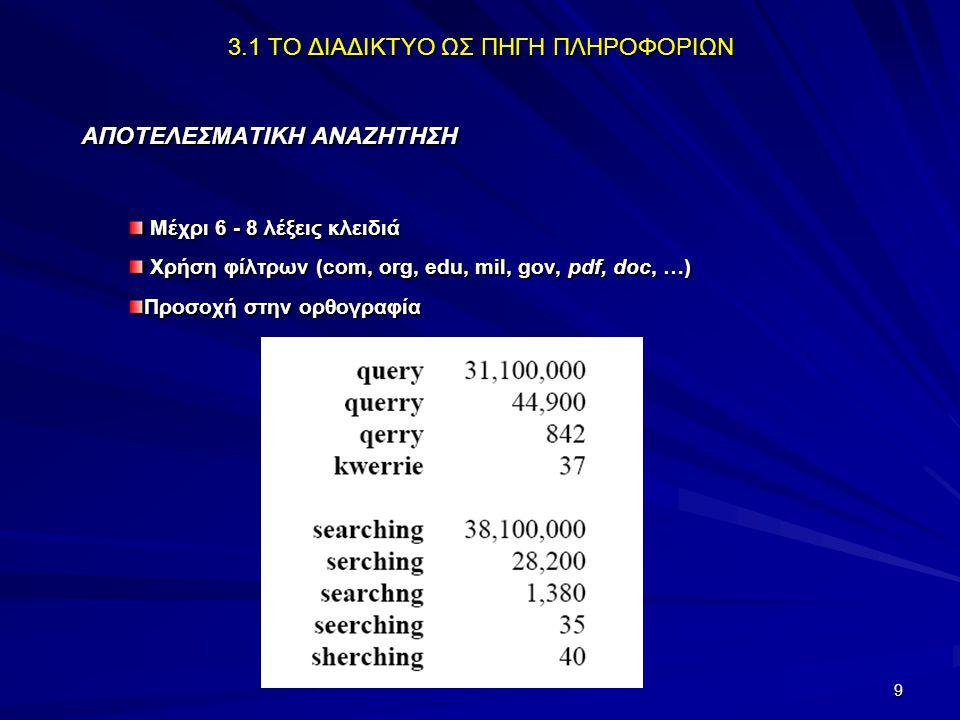 10 3.1 ΤΟ ΔΙΑΔΙΚΤΥΟ ΩΣ ΠΗΓΗ ΠΛΗΡΟΦΟΡΙΩΝ ΔΡΑΣΤΗΡΙΟΤΗΤΕΣ Χρησιμοποιείστε μια μηχανή αναζήτησης για να αντλήσετε πληροφορίες για το μύθο της χαμένης Ατλαντίδας χρησιμοποιώντας ως λέξη κλειδί α) τη λέξη «Ατλαντίδα», β) τις λέξεις «ήπειρος Ατλαντίδας» (όλες τις λέξεις) και γ) τη λέξη «Ατλαντίδα» χωρίς τις λέξεις «αποστολή», «ταινία», «φιλμ».
