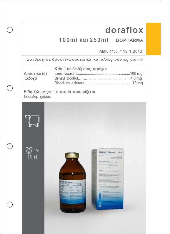 doraflox 100ml και 250ml DOPHARMA ΑΜΚ 4463 / 19-1-2012 Σύνθεση σε δραστικά συστατικά και άλλες ουσίες (ανά ml) Κάθε 1 ml διαλύματος περιέχει: Enroflox