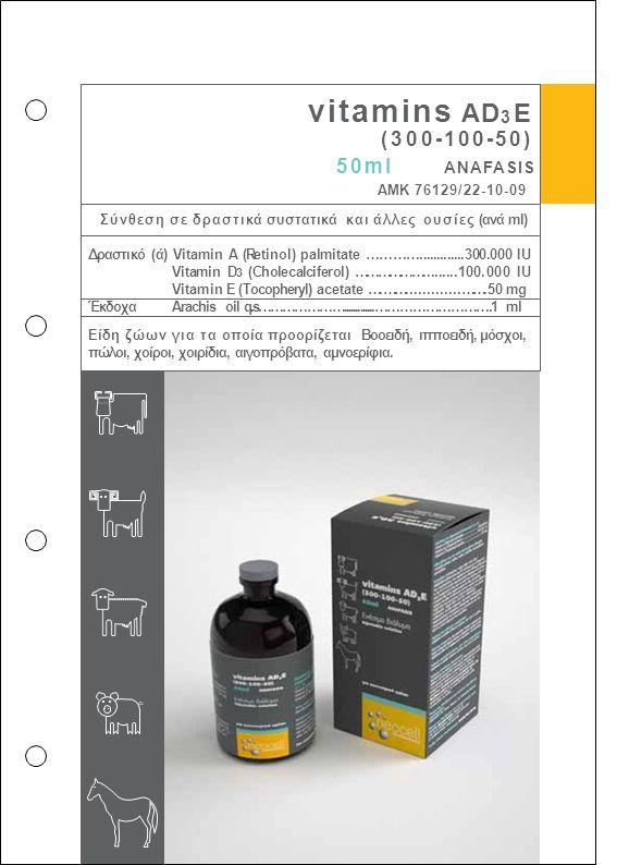 vitamins AD 3 E (300-100-50) 50ml ANAFASIS ΑΜΚ 76129/22-10-09 Σύνθεση σε δραστικά συστατικά και άλλες ουσίες (ανά ml) Δραστικό (ά) Vitamin A (Retinol)