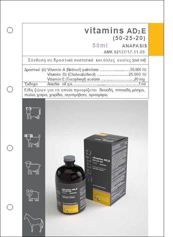 vitamins AD 3 E (50-25-20) 50ml ANAFASIS ΑΜΚ 82137/17-11-09 Σύνθεση σε δραστικά συστατικά και άλλες ουσίες (ανά ml) Δραστικό (ά) Vitamin A (Retinol) p
