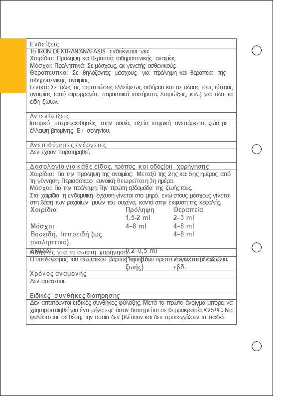 Ενδείξεις Το IRON DEXTRAN/ANAFASIS ενδείκνυται για: Χοιρίδια: Πρόληψη και θεραπεία σιδηροπενικής αναιμίας Μόσχοι: Προληπτικά: Σε μόσχους, εκ γενετής α
