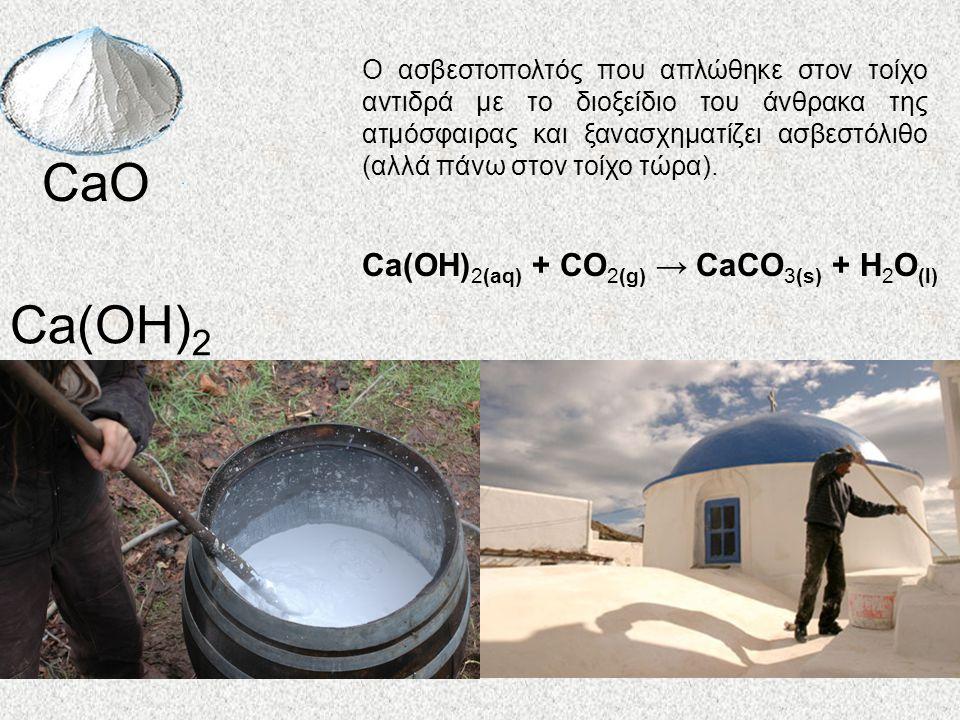 CaO Ca(OH) 2 Ca(OH) 2(aq) + CO 2(g) → CaCO 3(s) + H 2 O (l) Ο ασβεστοπολτός που απλώθηκε στον τοίχο αντιδρά με το διοξείδιο του άνθρακα της ατμόσφαιρας και ξανασχηματίζει ασβεστόλιθο (αλλά πάνω στον τοίχο τώρα).
