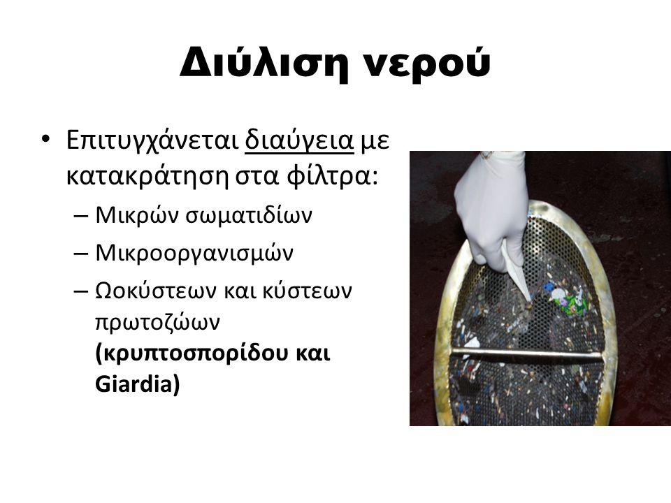 Διύλιση νερού Επιτυγχάνεται διαύγεια με κατακράτηση στα φίλτρα: – Μικρών σωματιδίων – Μικροοργανισμών – Ωοκύστεων και κύστεων πρωτοζώων (κρυπτοσπορίδου και Giardia)