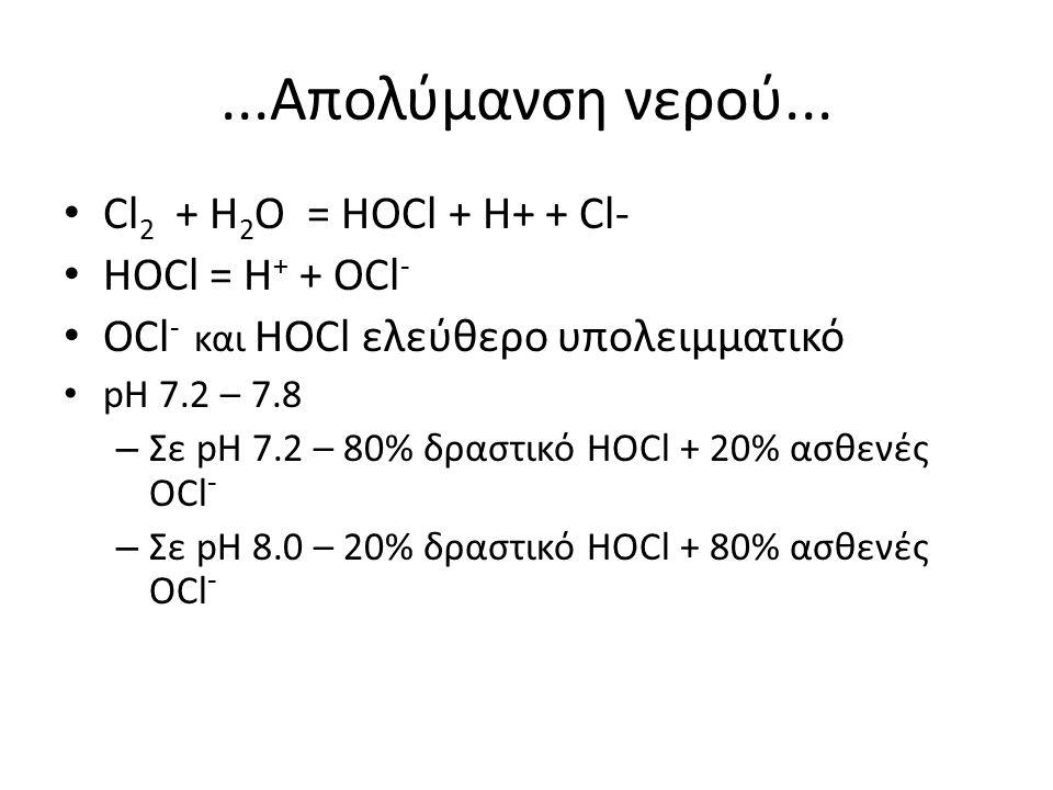 ...Απολύμανση νερού... Cl 2 + H 2 Ο = HOCl + H+ + Cl- HOCl = H + + OCl - OCl - και HOCl ελεύθερο υπολειμματικό pH 7.2 – 7.8 – Σε pH 7.2 – 80% δραστικό