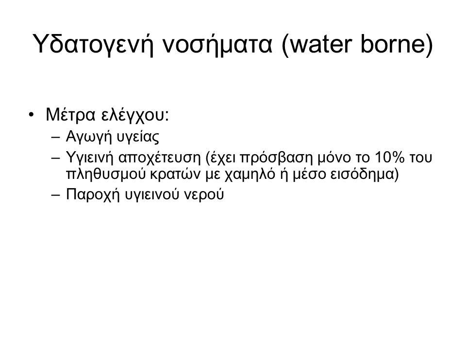 Υδατογενή νοσήματα (water borne) Μέτρα ελέγχου: – Αγωγή υγείας – Υγιεινή αποχέτευση (έχει πρόσβαση μόνο το 10% του πληθυσμού κρατών με χαμηλό ή μέσο ε