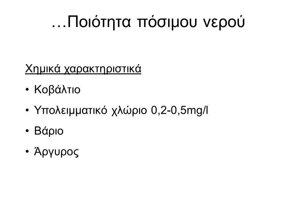 …Ποιότητα πόσιμου νερού Χημικά χαρακτηριστικά Κοβάλτιο Υπολειμματικό χλώριο 0,2-0,5mg/l Βάριο Άργυρος