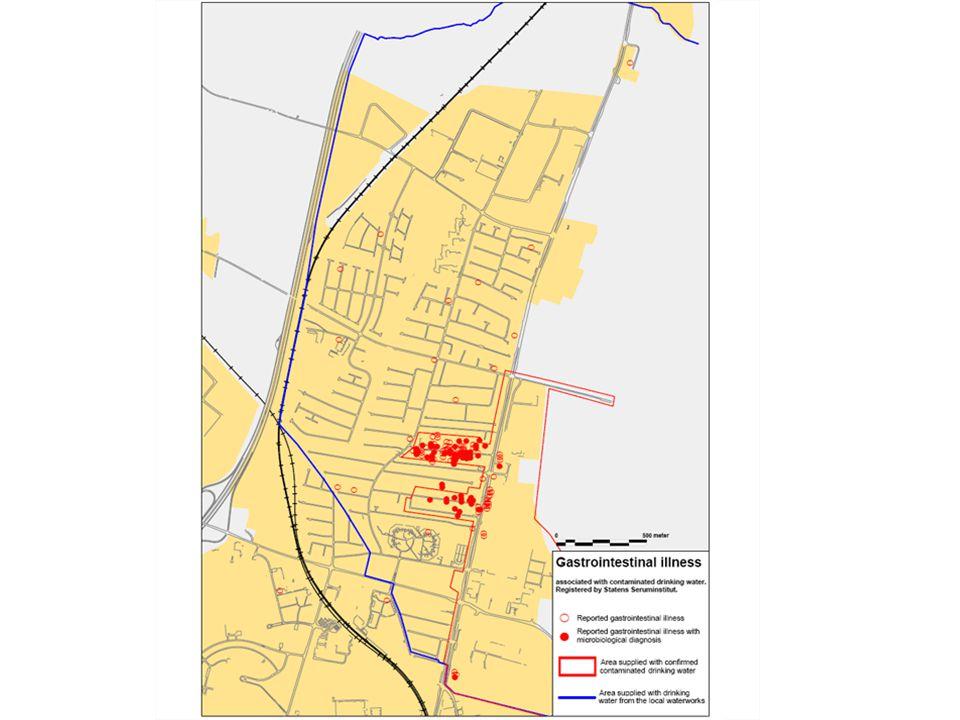 Επιδημία στην Δανία: 2007 Σύνολο: 530 αναλύσεις δείγματα 200 σημεία δειγματοληψίας 26 Ιανουαρίου (11 ημέρες μετά) Οριοθετήθηκε η περιοχή μόλυνσης (κόκκινη ζώνη στον χάρτη) 177 οικίες, 450 κάτοικοι, Λίγες εταιρίες: όμως οι 6 σχετίζονταν με τρόφιμα.