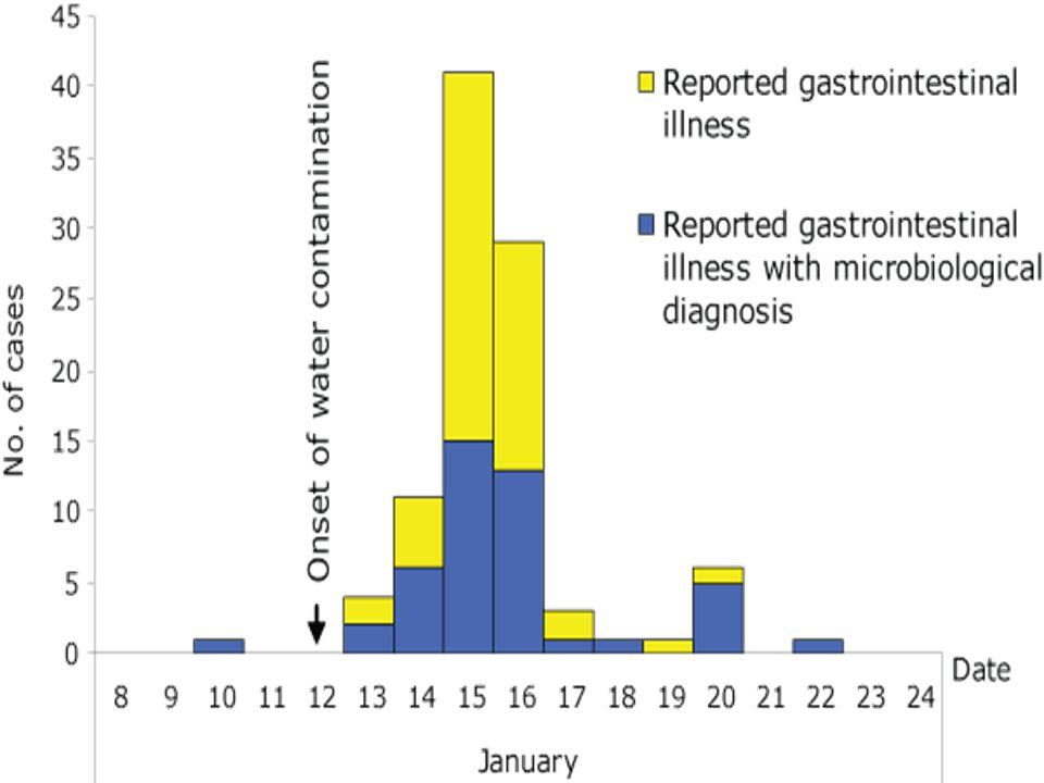 Επιδημία στην Δανία: 2007 Τα περιστατικά συσχετίζονταν με την προσβεβλημένη περιοχή 24% των κατοίκων της «κόκκινης ζώνης» είχε Γ/Ε έναντι του 0,3% άλλων περιοχών της ίδιας ζώνης υδροδότησης RR= 73, CI=44-127 Εντός της «κόκκινης ζώνης» υπήρχε ένας δρόμος όπου το 43% των κατοίκων είχε νοσήσει από Γ/Ε.