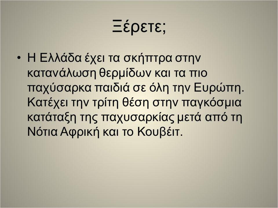 Ξέρετε; H Ελλάδα έχει τα σκήπτρα στην κατανάλωση θερμίδων και τα πιο παχύσαρκα παιδιά σε όλη την Ευρώπη.