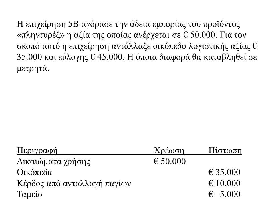 Η επιχείρηση 5Β αγόρασε την άδεια εμπορίας του προϊόντος «πληντυρέξ» η αξία της οποίας ανέρχεται σε € 50.000. Για τον σκοπό αυτό η επιχείρηση αντάλλαξ